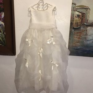 New Davids bridal flower girl  satin bow dress